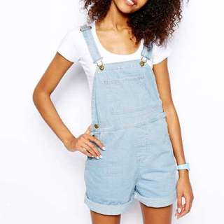 American Apparel Light Wash Overalls