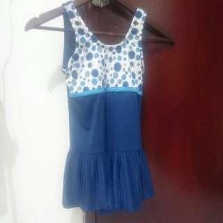 Baju Renang Biru Polkadot