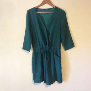 Elegant Emerald Green Cocktail Dress Smock