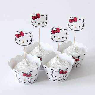 12pcs HelloKitty Paper Cupcake Wrappers