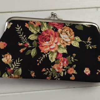 Black, red and green floral coin wallet
