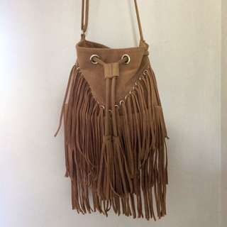 Faux Leather Fringe Bag