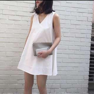 V Neck White Dress