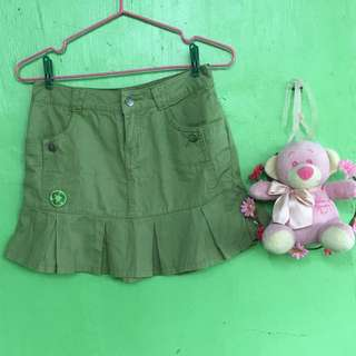 Green Peace Patch Skirt