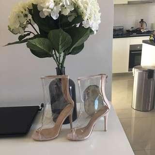 Bebe Peep Toe Clear Boots