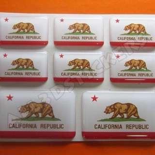 3D sticker CALIFORNIA REPUBLIC FLAG 8pcs