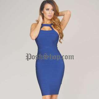 Posh Shop Navy Bandage Dress XS