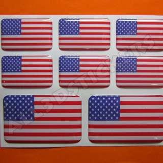 3D Sticker UNITED STATES USA FLAG 8pcs