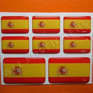 3D Sticker SPAIN FLAG 8pcs
