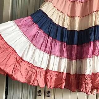 超長大裙擺重磅拼接棉布彩虹裙
