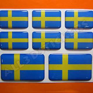 3D Sticker SWEDEN FLAG 8pcs