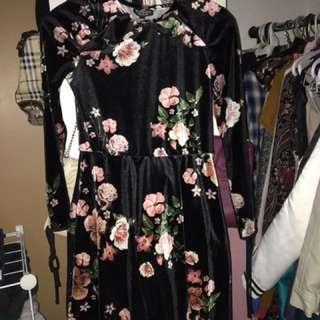 Floral Velvet Topshop Dress