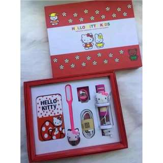 Free Hello Kitty paper gift bag with purchase Hello kitty powerbank set 5 in 1