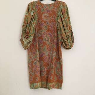 Batik Dress With Baloon Sleeves