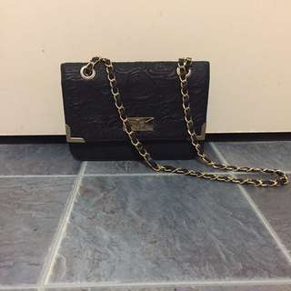 Black And Gold Clutch Bag With Strap