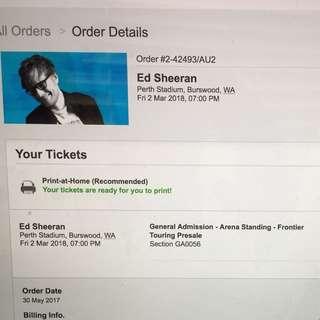 Ed Sheeran Perth Stadium Concert Tickets
