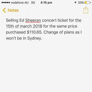 ED SHEERAN CONCERT TICKET FOR March 15th
