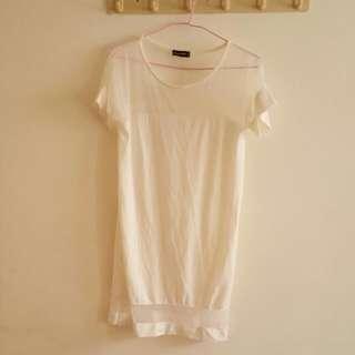 🔥全新☄領口下襬鏤空純白長版上衣☄