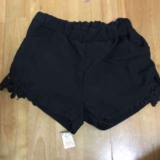 全新  黑色 束口 小花 蕾絲 短褲 有口袋