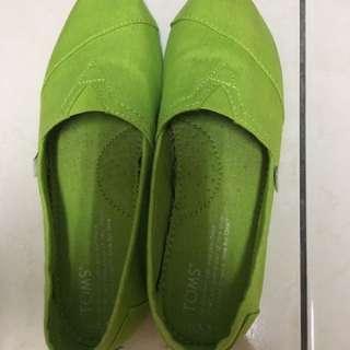 Toms帆布鞋全新綠色5.5號