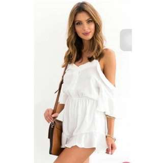 White Cold Shoulder Romper