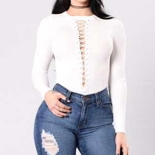 White Long Sleeve Bodysuit