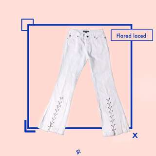 White Flared Jeans Laced