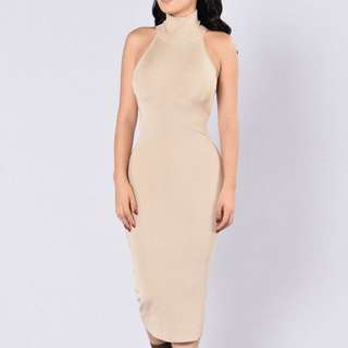 Turtle Neck Midi Dress Taupe