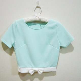 Mint Ribbon Crop Top