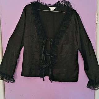Gothic Chic Star Jacket Blouse Top - Lace Ribbon  Detal