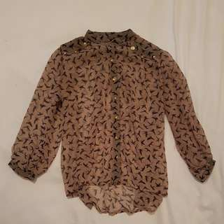 Sheer Blouse With Gold Buttons Size 8