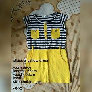 Stripe Black And Yellow Dress