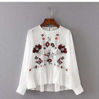 Embroidered Flowers White Long Sleeve Blouse