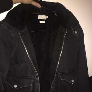 Topman Denim Fur Jacket