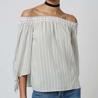 TOPSHOP off-shoulder striped blouse