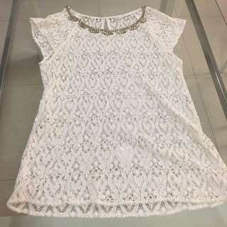 Forever New Lace Top With Diamanté