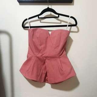 Bardot Peach Peplum Top