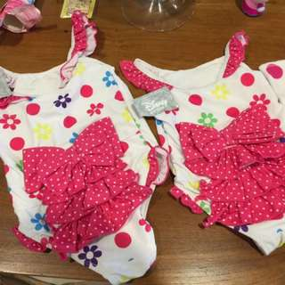 Official Disney Swimsuits For Girls 2 And 4 Years Old And Matching Disney Robes.