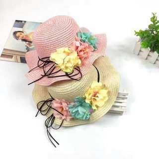 波浪大沿花朵防曬沙灘涼帽