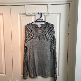 Witchery Metallic Long Sleeve Jumper Size S