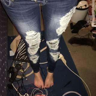 Megusta Brand Lace Insert Lowrise Dark Blue Denim Skinny Leg Jeans