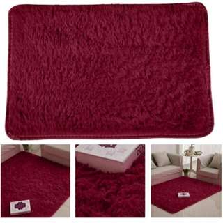 Fluffy Rugs Anti-skid Shaggy Area Rug Dining Carpet Floor Mat Wine Red