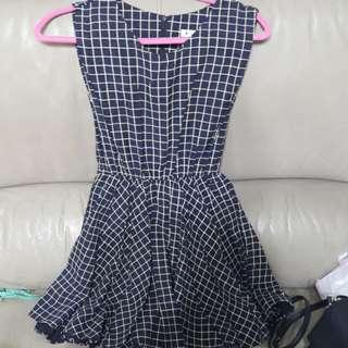 Made In Korea藍色格仔連身裙