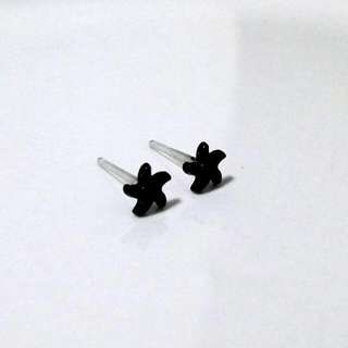 Black Spiral Star Plastic Ear Studs/Earrings