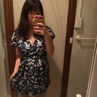 Valleygirl Floral Navy Wrap Dress