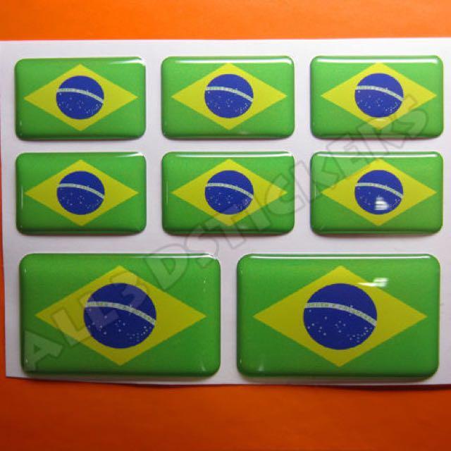3D sticker BRAZIL FLAG 8pcs