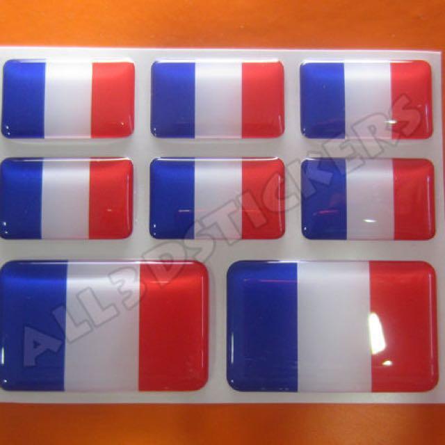 3D Sticker FRANCE FLAG 8pcs