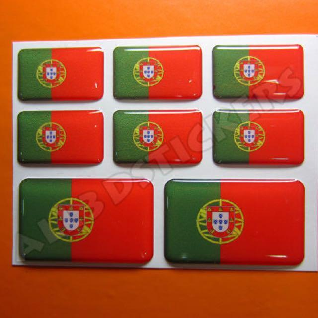 3D Sticker PORTUGAL FLAG 8pcs