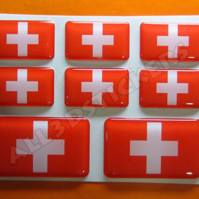 3D Sticker SWITZERLAND FLAG 8pcs