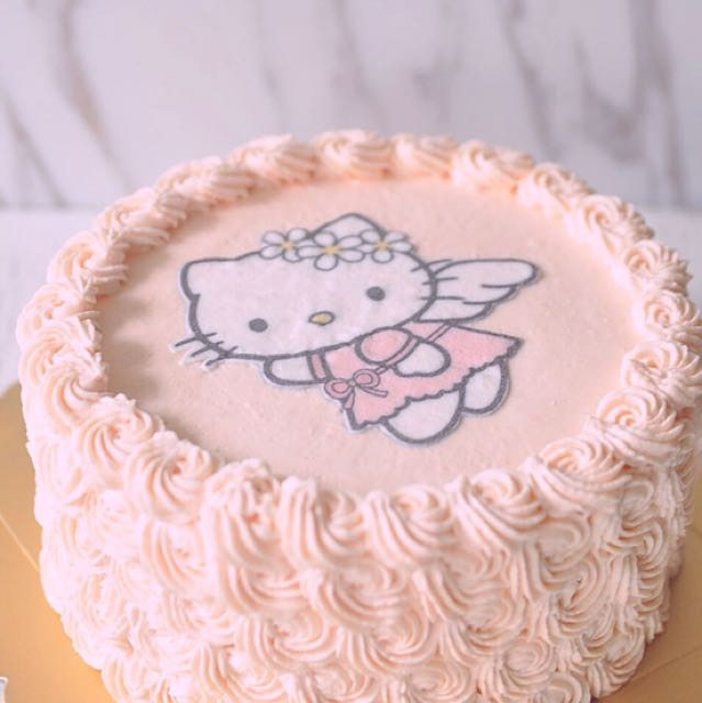 6inch Wholemeal Hello Kitty Pink Rose Birthday Cake Food Drinks